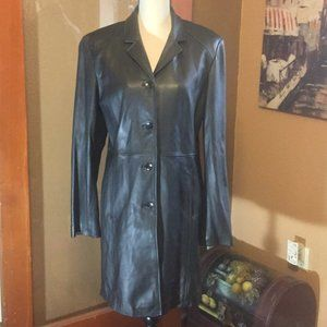 Kenneth Cole Black Soft Leather long trench coat